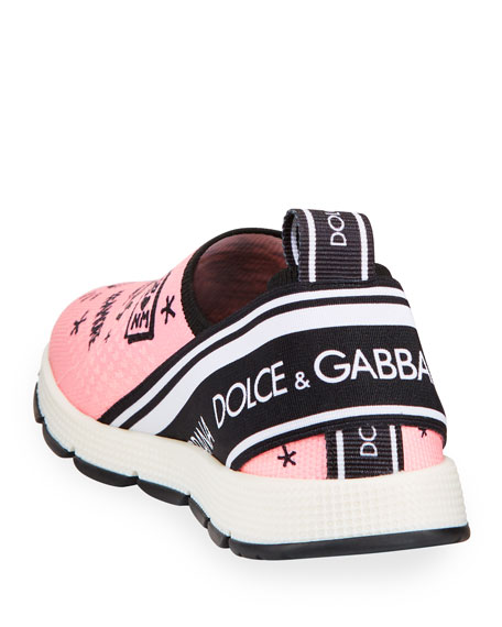 Dolce & Gabbana DG + NM Maglina Slip-On Knit Logo-Patch Sneakers, Kids