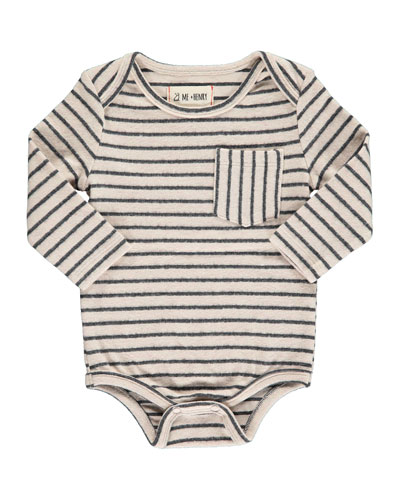 Boy's Striped Long-Sleeve Bodysuit w/ Children's Book, Size 0-24 Months