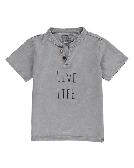 Me & Henry Boy's Live Life Split Neck Tee w/ Children's Book, Size 2T-7