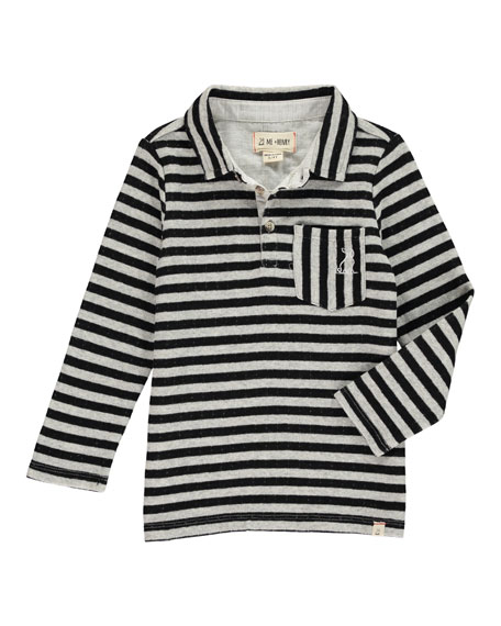 Me & Henry Boy's Striped Long-Sleeve Polo Shirt w/ Children's Book, Size 2T-10