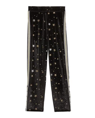 Girl's Metallic Star Velvet Sweatpants w/ Side Taping  Size S-XL