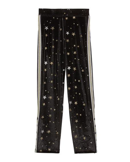 Flowers By Zoe Girl's Metallic Star Velvet Sweatpants w/ Side Taping, Size S-XL