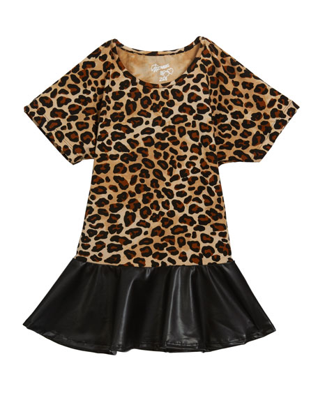 Flowers By Zoe Girl's Leopard Faux Leather Peplum Top, Size S-XL