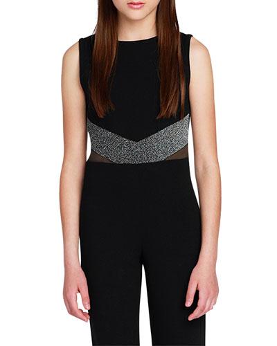 Girl's The Allie Crepe Lurex Trim Jumpsuit  Size S-XL