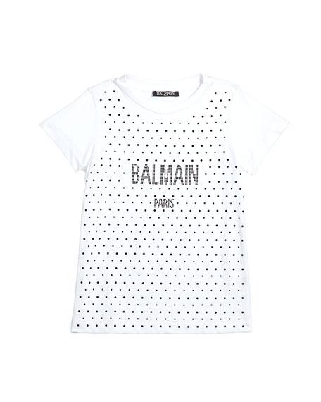 Balmain Girl's Short-Sleeve Embellished Logo Tee, Size 4-10