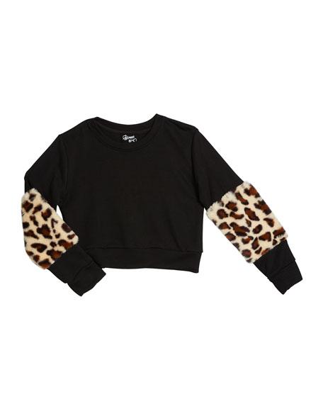 Flowers By Zoe Girl's Leopard Faux Fur Trim Sweatshirt, Size S-XL