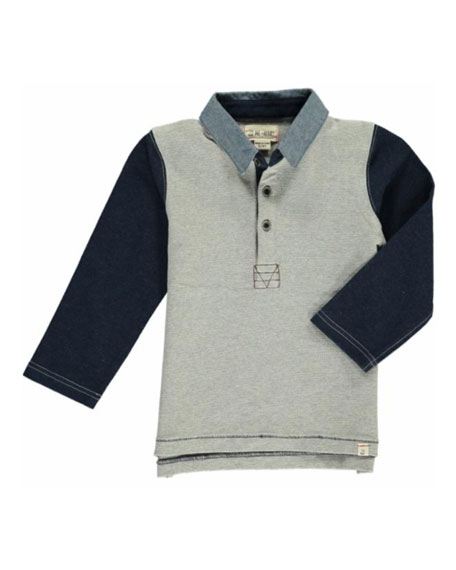 Me & Henry Boy's Colorblock Long-Sleeve Rugby Shirt w/ Children's Book, Size 2T-10