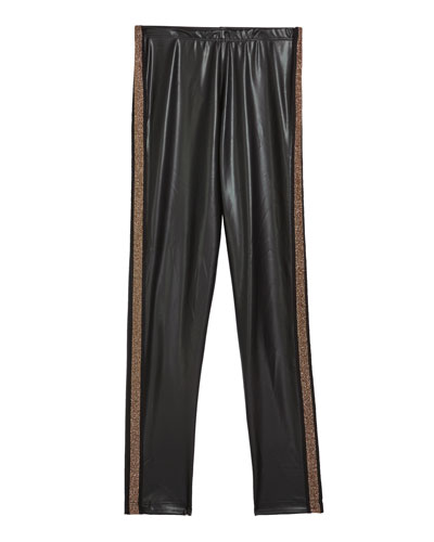 Girl's Faux Leather Leggings w/ Metallic Side Taping  Size S-XL