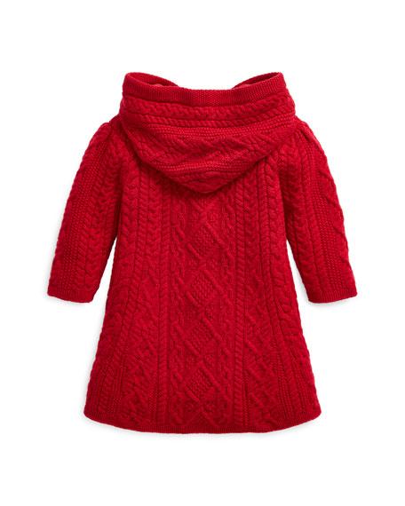 Ralph Lauren Childrenswear Girl's Aran Knit Hooded Cardigan Sweater, Size 9-24 Months