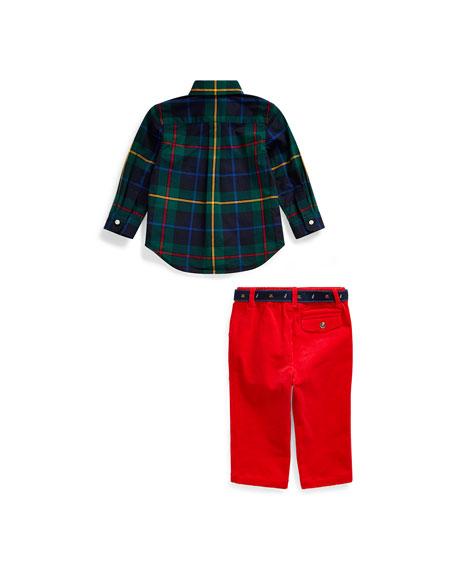 Ralph Lauren Childrenswear Boy's Poplin Plaid Shirt w/ Corduroy Pants & D-Ring Belt, Size 6-24 Months