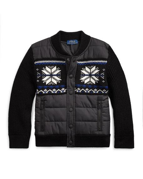 Ralph Lauren Childrenswear Boy's Merino Wool Hybrid Sweater Jacket, Size 5-7