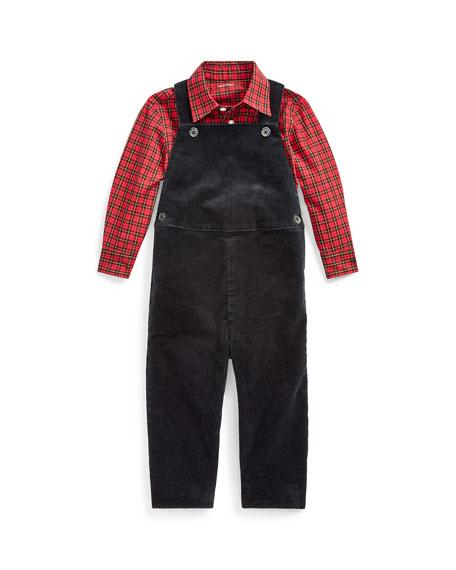 Ralph Lauren Childrenswear Boy's Corduroy Overalls w/ Plaid Shirt, Size 6-24 Months