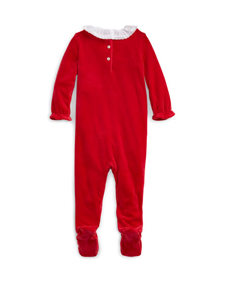 Ralph Lauren Childrenswear Girl's Velour Footie Playsuit, Size 3-9 Months