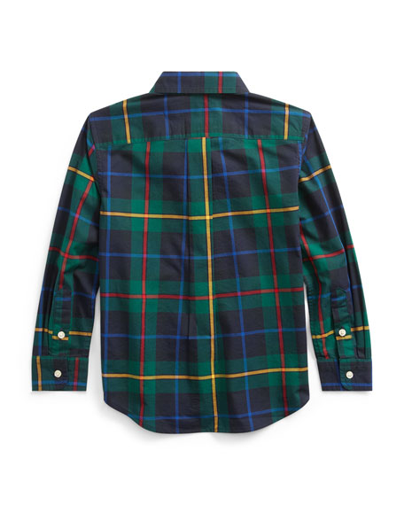 Ralph Lauren Childrenswear Boy's Natural Stretch Poplin Plaid Button Down Shirt, Size 2-4