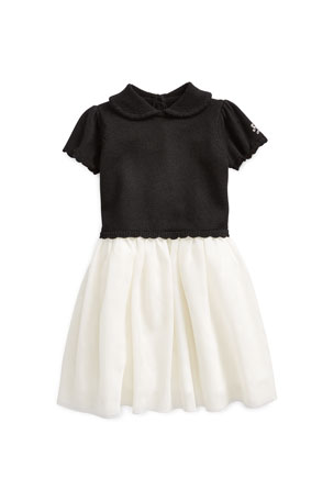 Ralph Lauren Childrenswear Girl's Holiday Sweater Tulle Dress, Size 3-24 Months