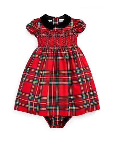 Girl's Wool Tartan Plaid Smocked Dress w/ Bloomers  Size 6-24 Months
