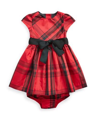 Girl's Taffeta Plaid Dress w/ Bloomers  Size 6-24 Months