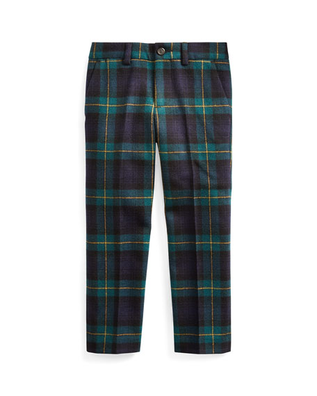 Ralph Lauren Childrenswear Boy's Slim Fit Twill Wool Plaid Pants, Size 5-7