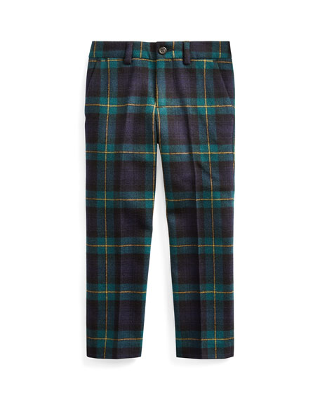 Ralph Lauren Childrenswear Boy's Slim Fit Twill Wool Plaid Pants, Size 2-4