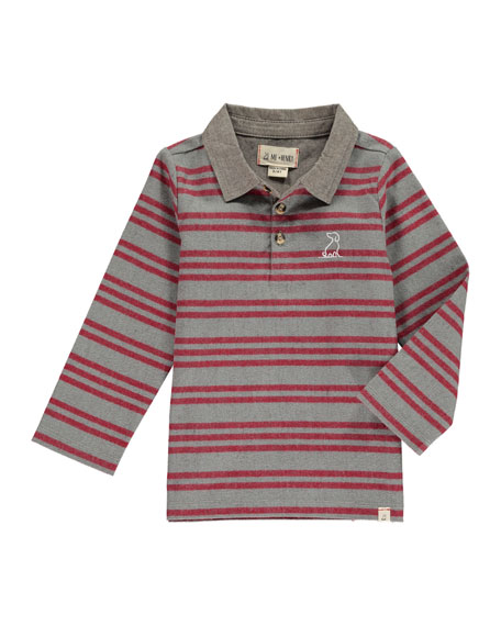 Me & Henry Boy's Rugby Striped Polo Shirt w/ Children's Book, Size 2T-10