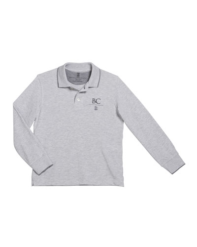 Boy's Long-Sleeve Polo Shirt with Logo Detail  Size 4-6
