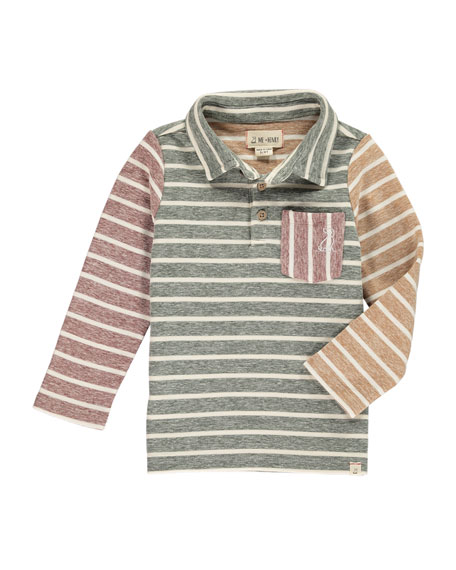 Me & Henry Colorblock Striped Long-Sleeve Polo w/ Children's Book, Size 2T-10