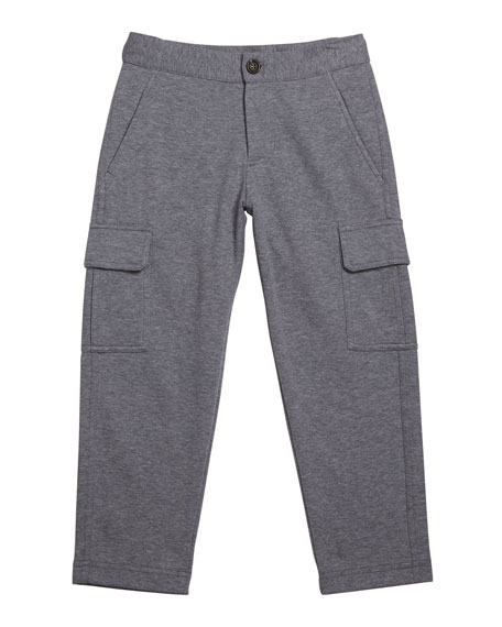 Brunello Cucinelli Boy's Heathered Felpa Cargo Sweatpants, Size 12