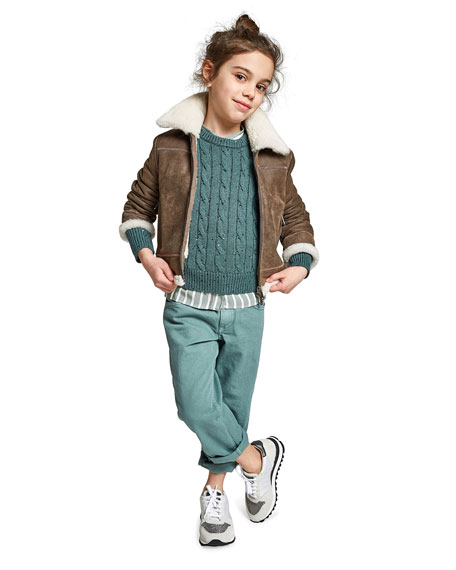 Brunello Cucinelli Girl's Cashmere Cable Knit Sweater w/ Paillettes, Size 4-6