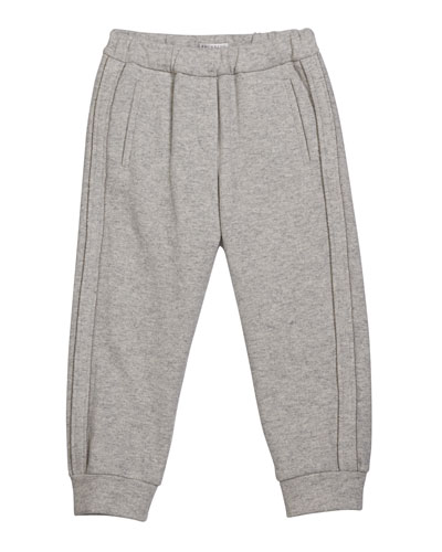 Girl's Cashmere Jogger Pants with Monili Piping, Size 4-6