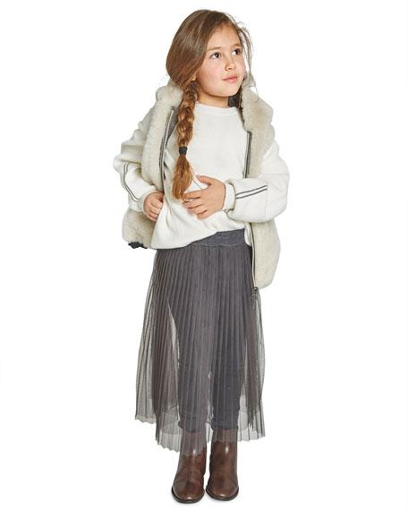 Brunello Cucinelli Girl's Tulle Skirt with Jersey Leggings, Size 4-6