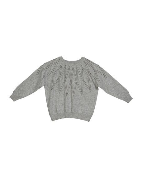Brunello Cucinelli Girl's Monili Argyle Cashmere Sweater, Size 4-6