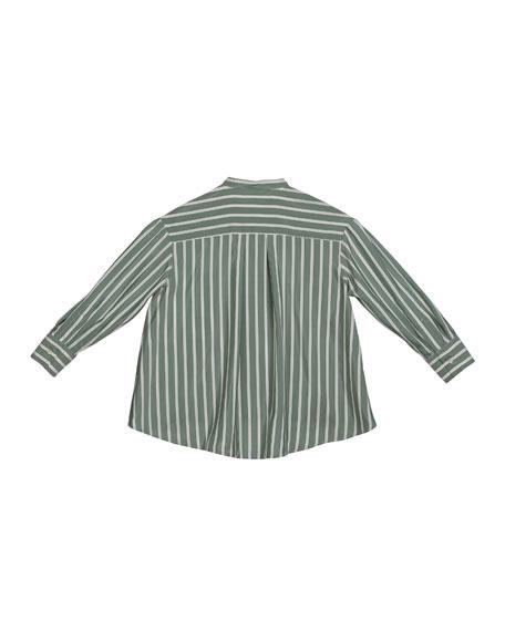 Brunello Cucinelli Girl's Striped Button-Down Silk Blouse w/ Monili Placket, Size 4-6