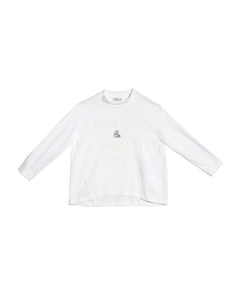 Brunello Cucinelli Girl's Long-Sleeve High-Low T-Shirt w/ Wording & Monili, Size 4-6