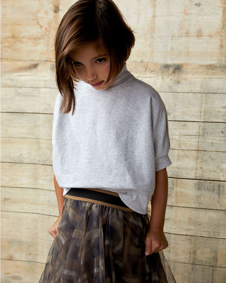 Brunello Cucinelli Girl's Printed Tulle Skirt, Size 8-10