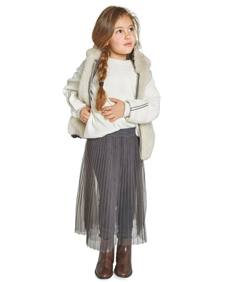 Brunello Cucinelli Girl's Tulle Skirt with Jersey Leggings, Size 8-10