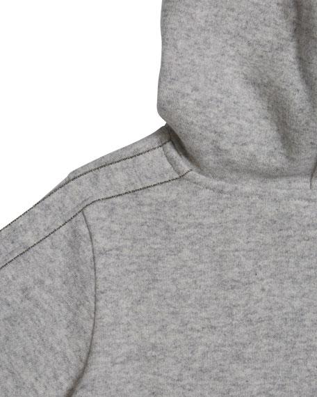 Brunello Cucinelli Girl's Cashmere Hoodie Sweatshirt w/ Monili Trim, Size 8-10