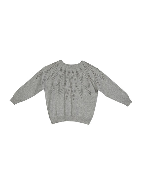 Brunello Cucinelli Girl's Monili Argyle Cashmere Sweater, Size 8-10