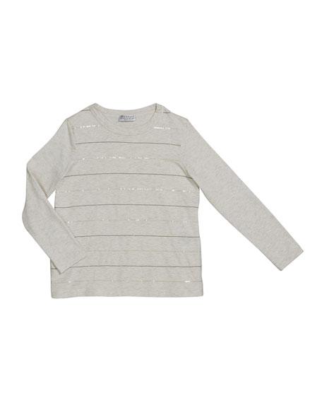 Brunello Cucinelli Girl's Paillette & Monili Striped Crewneck Long-Sleeve T-Shirt, Size 12