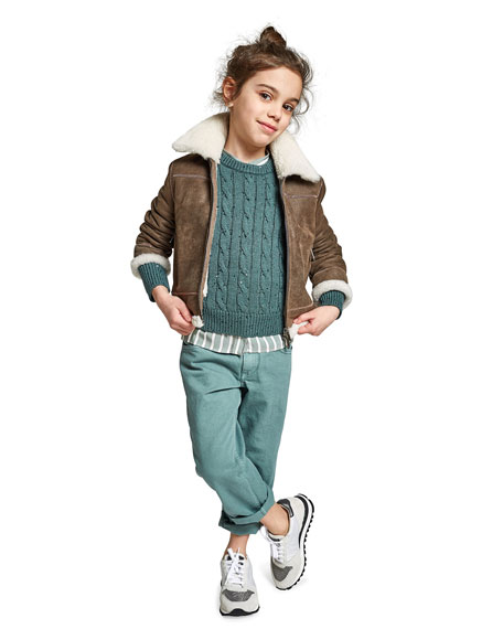 Brunello Cucinelli Girl's Cashmere Cable Knit Sweater w/ Paillettes, Size 8-10
