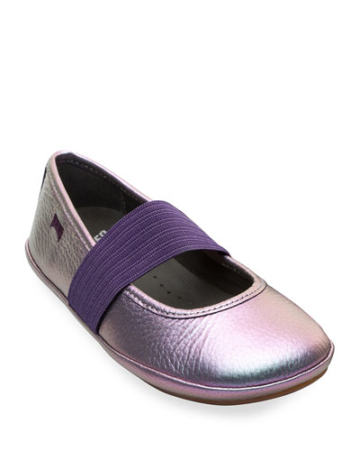 Iridescent Leather Elastic Band Flats  Toddler/Kids
