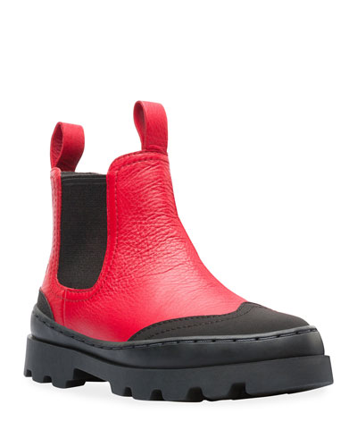 Two-Tone Mixed Leather Boots  Toddler/Kids