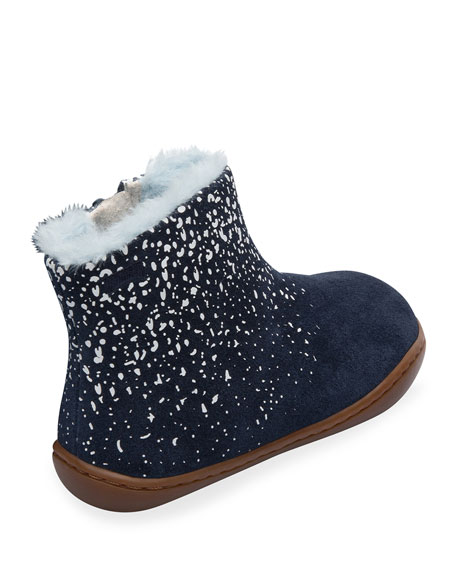 Camper Suede Boots w/ Faux Fur Lining, Toddler/Kids