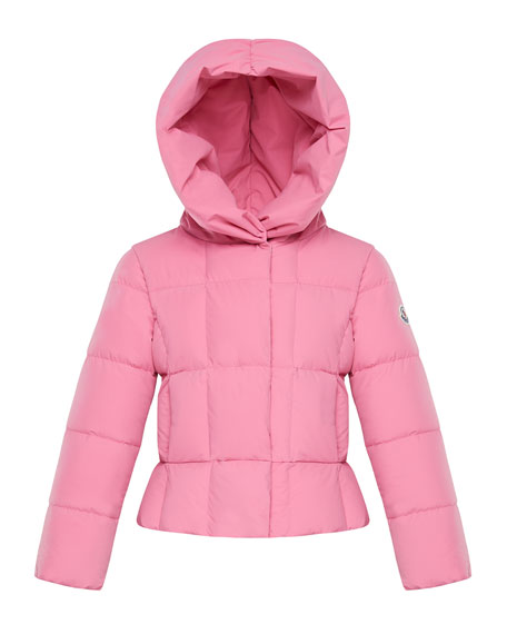 Moncler Girl's Giroflee Stretch Tech Hooded Jacket, Size 4-6