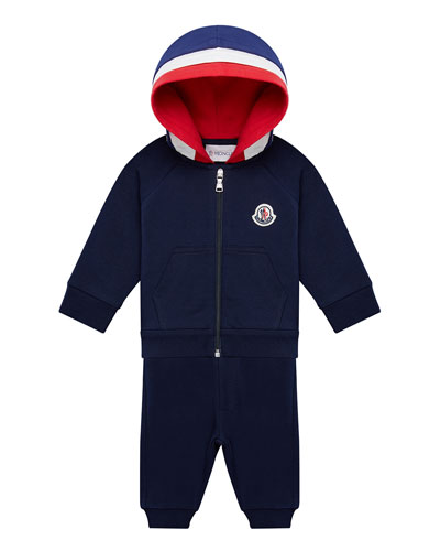 Boy's Molleton Hooded Jacket w/ Sweatpants, Size 6M-3