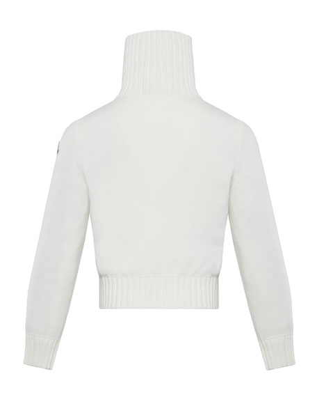 Image 2 of 2: Moncler Girl's Knit Puff Front Turtleneck Jacket, Size 8-14