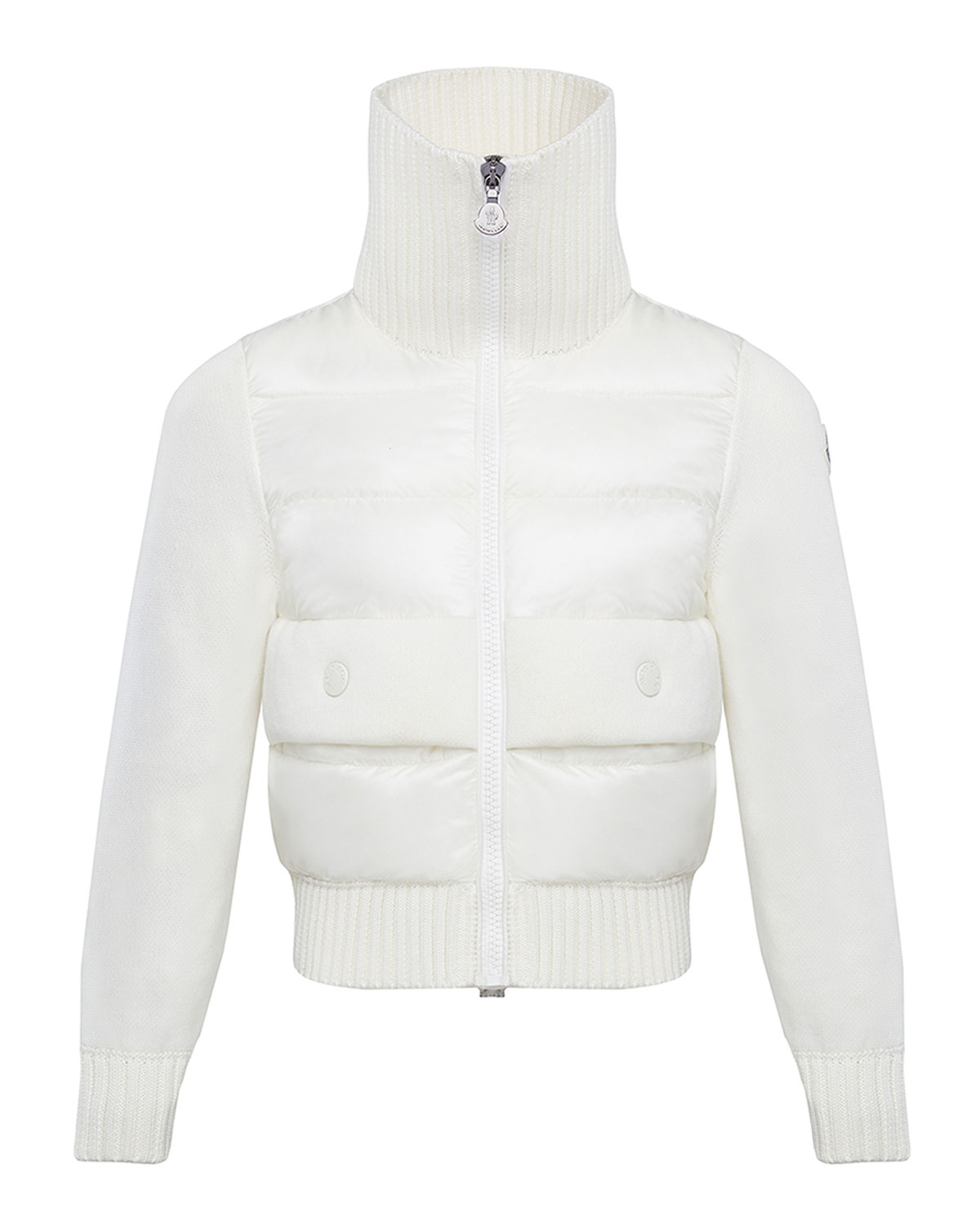 Moncler Girl's Knit Puff Front Turtleneck Jacket, Size 8-14