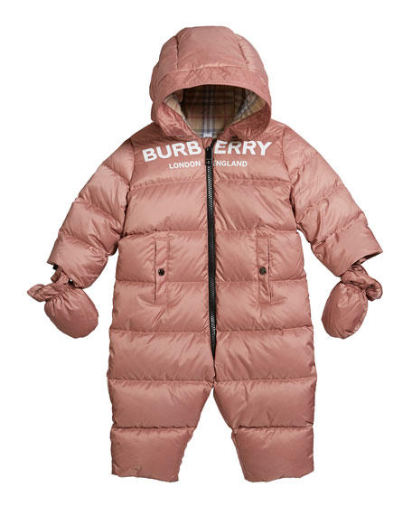 Burberry Kid's Skylar Quilted Logo Snowsuit, Size 6-18 Months