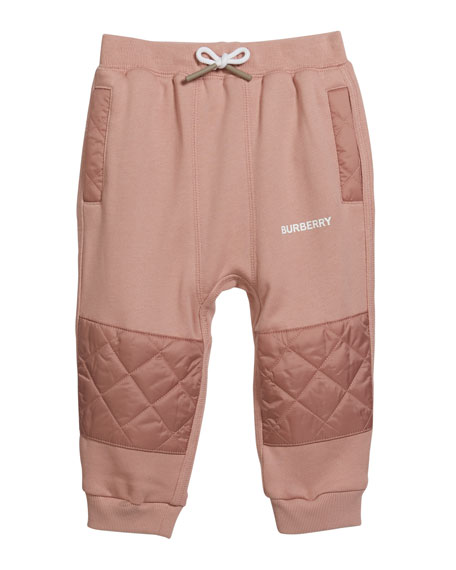 Burberry Boy's Mio Drawstring Sweatpants w/ Quilted Insets, Size 12M-2