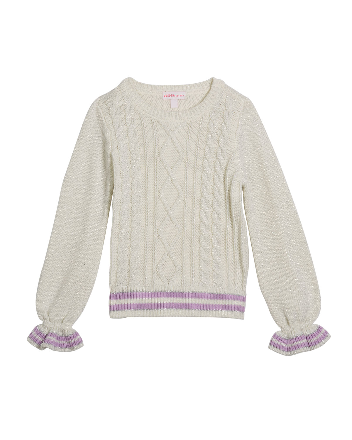 Design History Girls Girl's Lurex Cable Knit Sweater, Size 2-6X