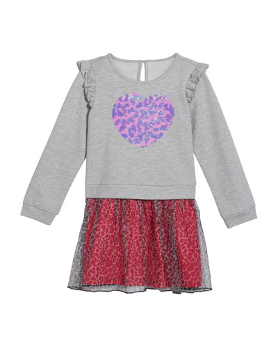 Girl's French Terry Flip Sequin Heart Dress  Size 2-6X